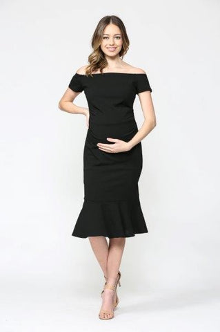 Mermaid Mama Off Shoulder Black Midi Dress