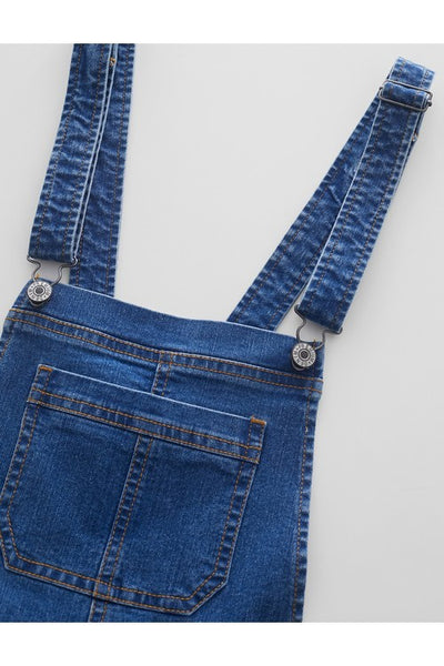 Distressed Denim Skinny Overalls