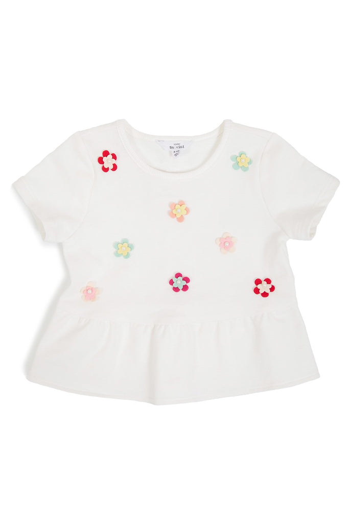 Flower Power Peplum Girls Short Sleeve Top