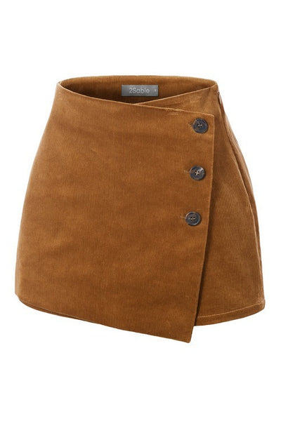 Chic Corduroy Button Skort (more colors)