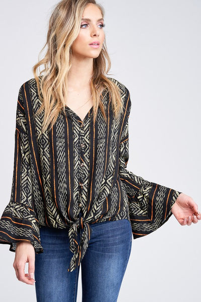 Self Tie Knot Button Down Print Woven Top