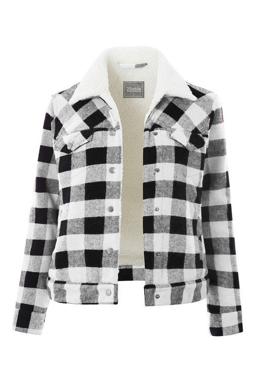 Buffalo Check Faux Sherpa Lined Trucker Jacket (more colors)