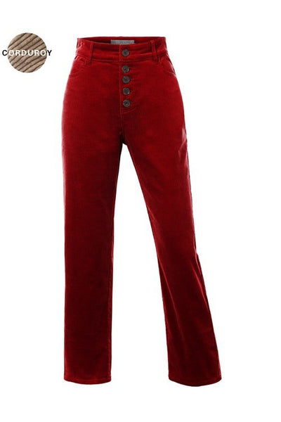 Retro Rust Corduroy Button Fly Flare Pants