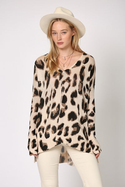 Lovely Leopard Oversized Knit Tunic Top