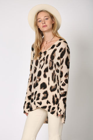 Leopard Oversized Knit Tunic Top