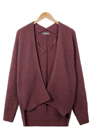 Oversized Boxy Open Waffle Knit Sweater Cardigan