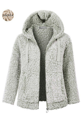 Warm Wishes Faux Sherpa Full Zip Hoodie Jacket