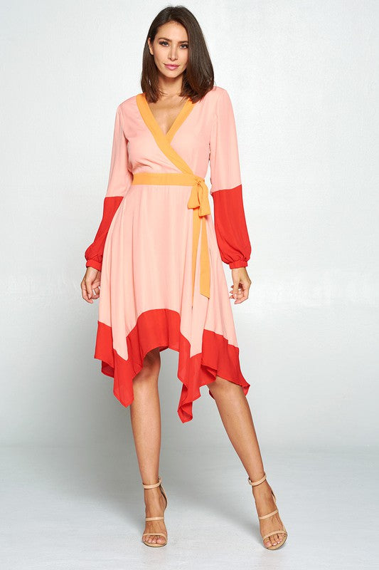 Topolino Color Blocked Asymmetric Hem Dress