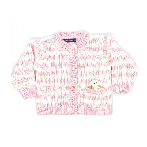Bear Cardigan Sweater - Pink and White Striped