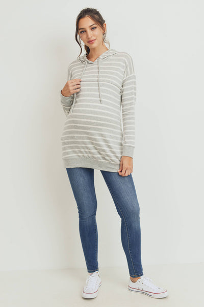 Rayon French Terry Striped Maternity and Nursing Hoodie