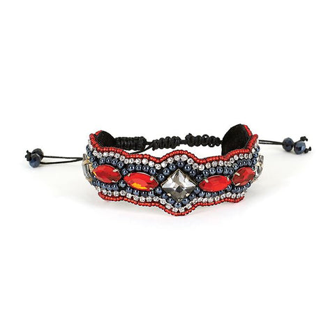 C+C Red Bead Patch Bracelet