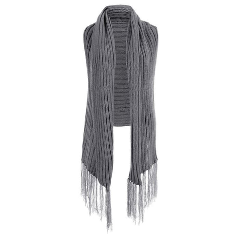 Coco + Carmen grey ribbed sweater vest with fringe