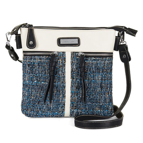 C+C Teal Tweed Black/Ivory Reese Crossbody Purse