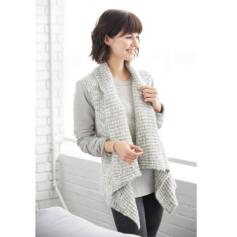 Light grey soft sweatshirt and sweater mixed material draped front cardigan jacket