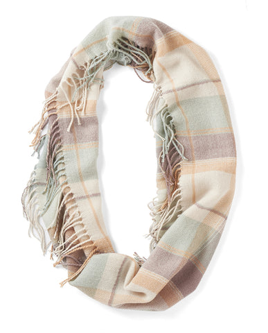 Soft lighter weight plaid and fringe infinity scarf in a pastel hues color mix