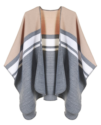 Beige grey and white classic color block stripe soft and warm blanket ruana wrap