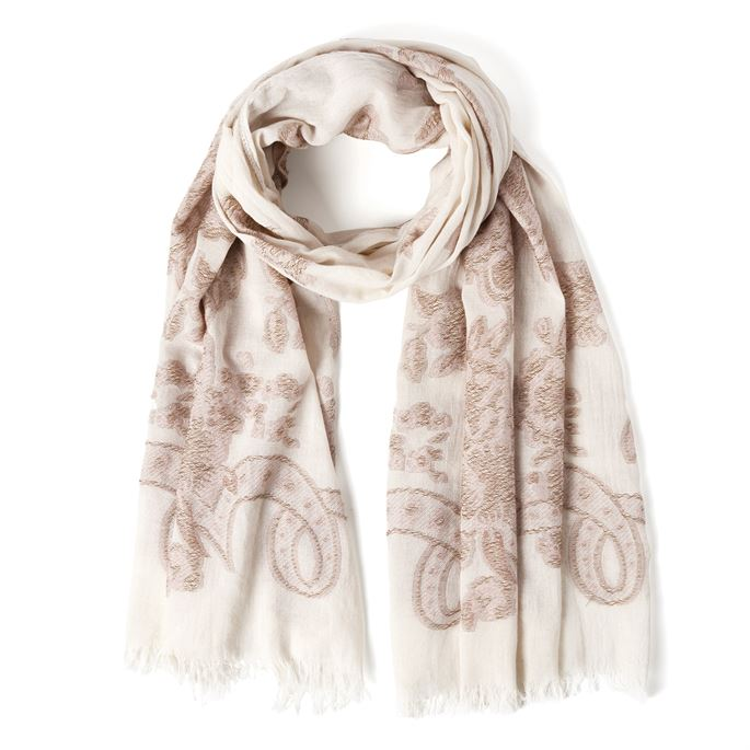 Gardenia Rose/Ivory Flowing Oblong Scarf