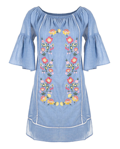 C+C Seaside Embroidered Denim Dress