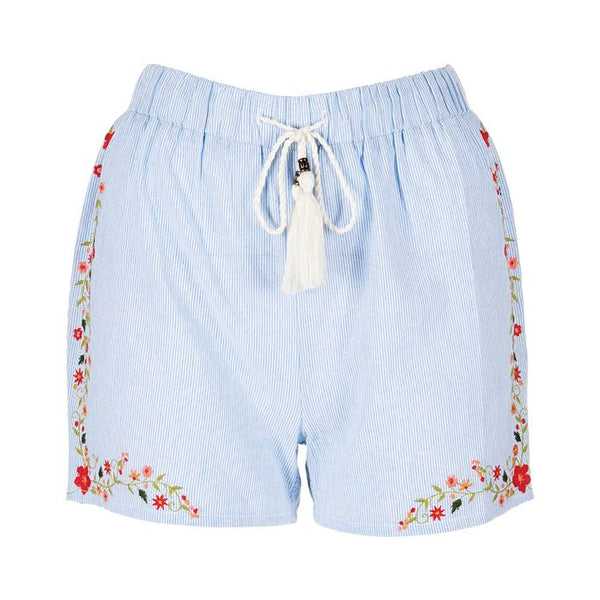 C+C Hana Embroidered Stripe Shorts