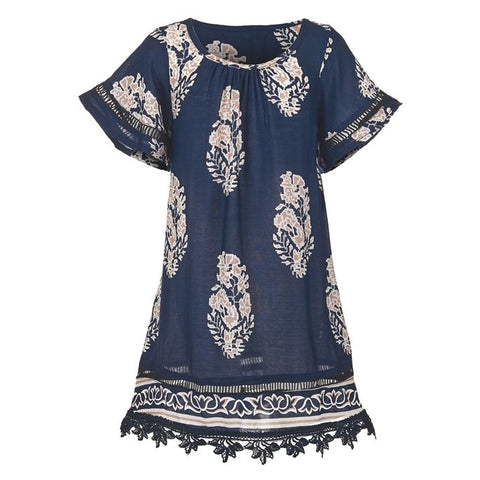 Kids/Girls navy a-line lightweight dress featuring a fun exotic print ad fancy fringe hem in Taupe for a trendy, easy style. Perfect for Spring and Summer vacation.