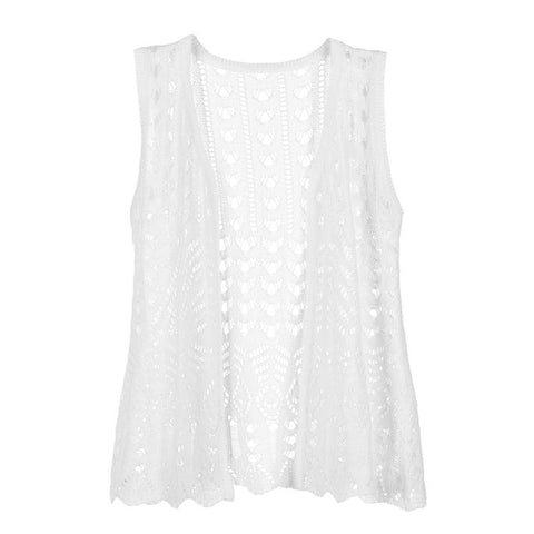 C+C Kids Long Pointelle White Knit Vest
