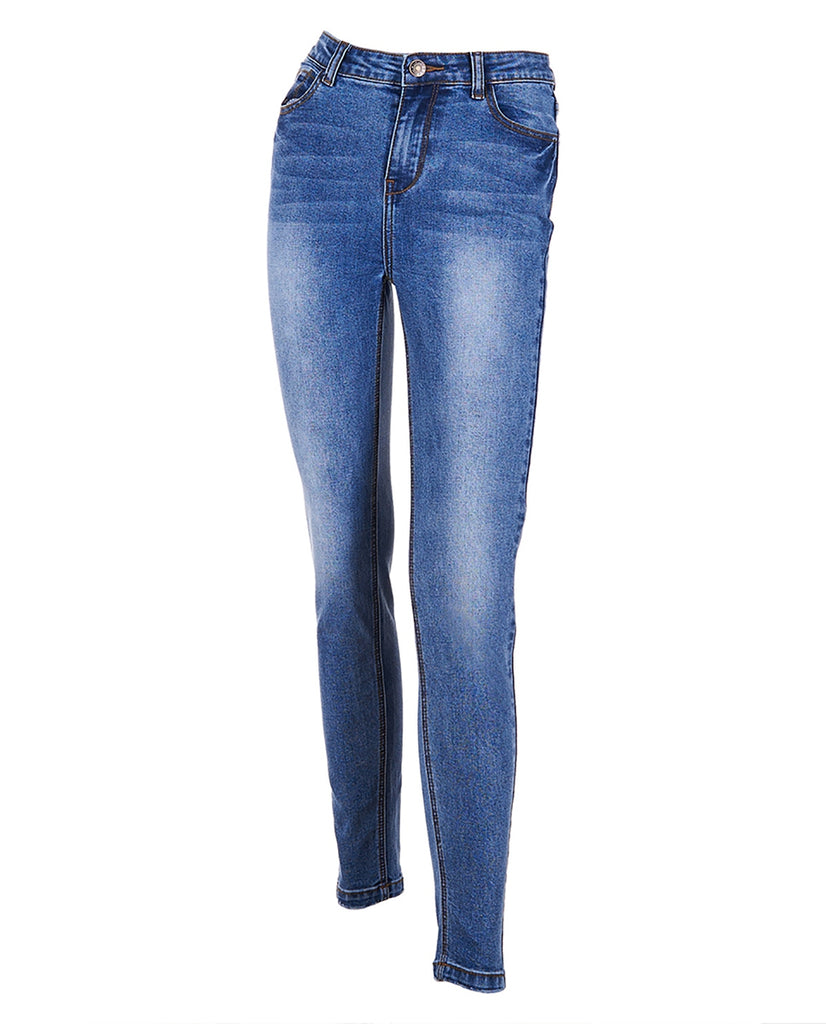 Medium wash denim stretch comfortable skinny jeans