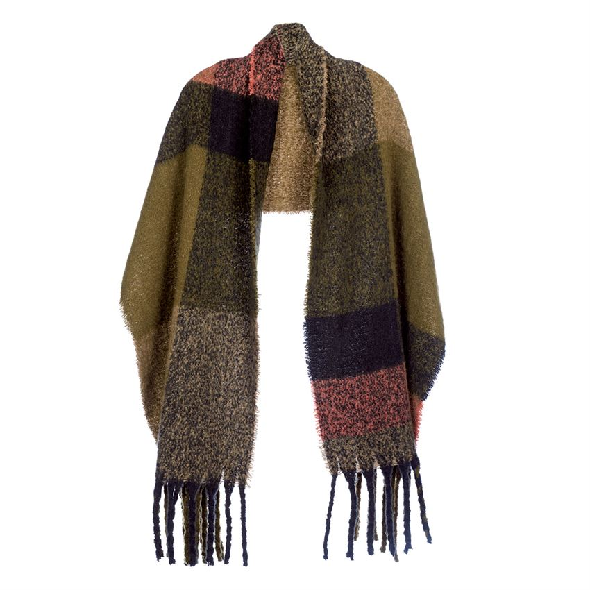 Supersoft Plaid Oblong Scarf/Wrap