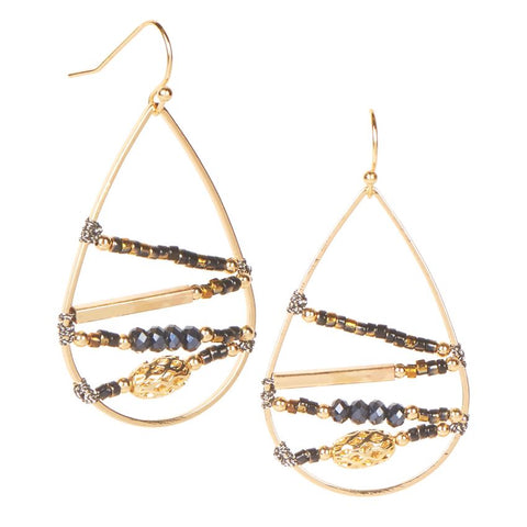 Wanderer Bead Loom Gold Teardrop Earrings