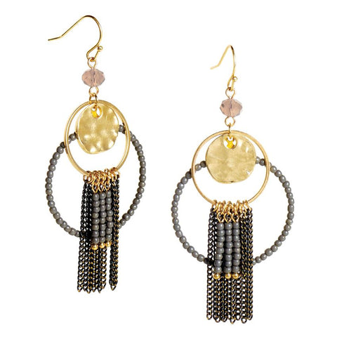 Devotion Gold/Black Fringe Dangle Earrings