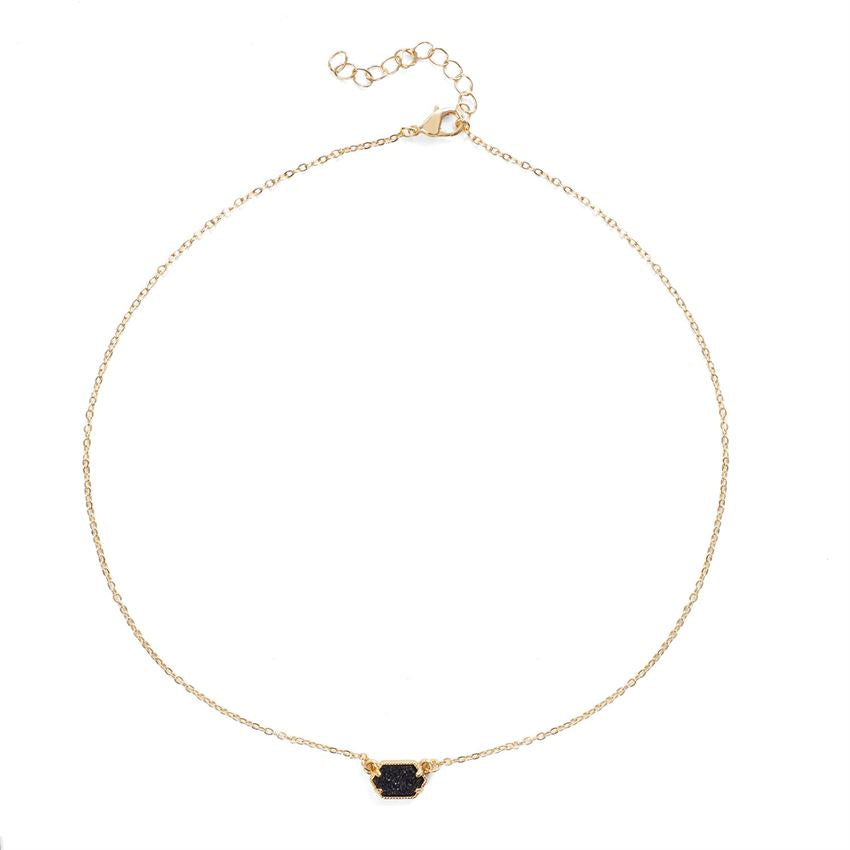 Roxy Stone Solitaire Delicate Gold Necklace (more colors)