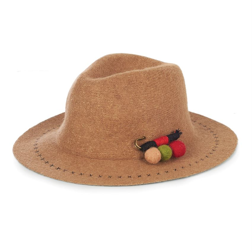 Tan Ranch Hat with Felt Pom Pin