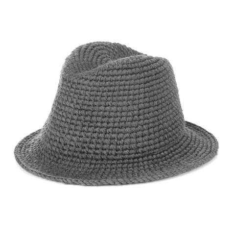 Grey Soft Weave Fedora Hat