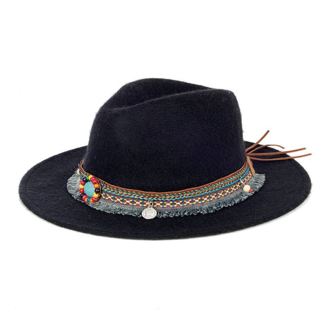 Black Ranch Hat with Embellished Wrap