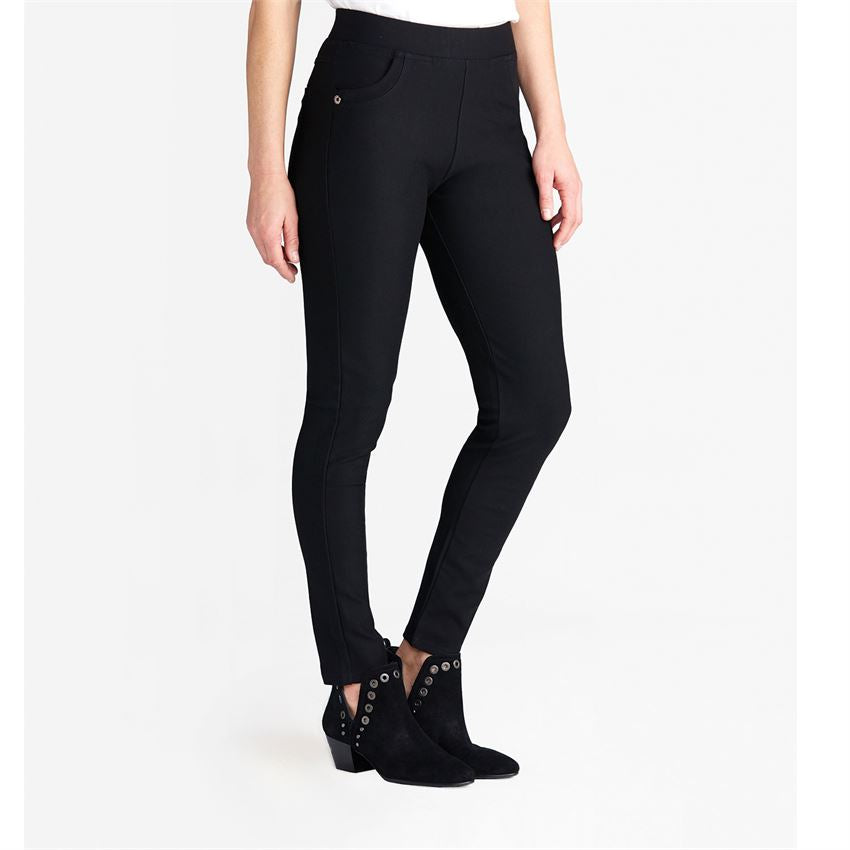 Sloane Button Pocket Black Thick Stretch Skinny Pants