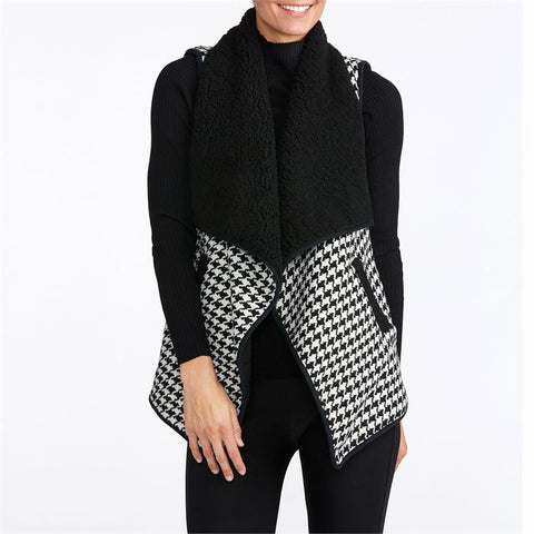 Gianna Houndstooth Vest w/ Faux Sherling Lining