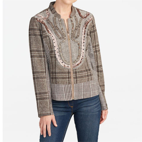 Emmaline Zip Brown Plaid Jacket