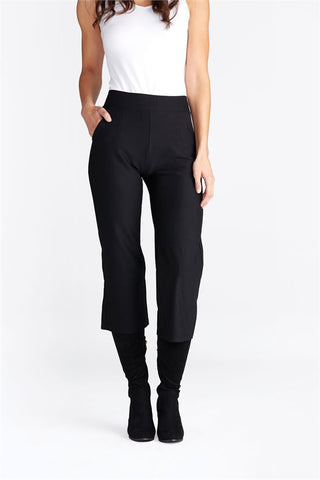 Estella Wide Leg Crop Black Pants