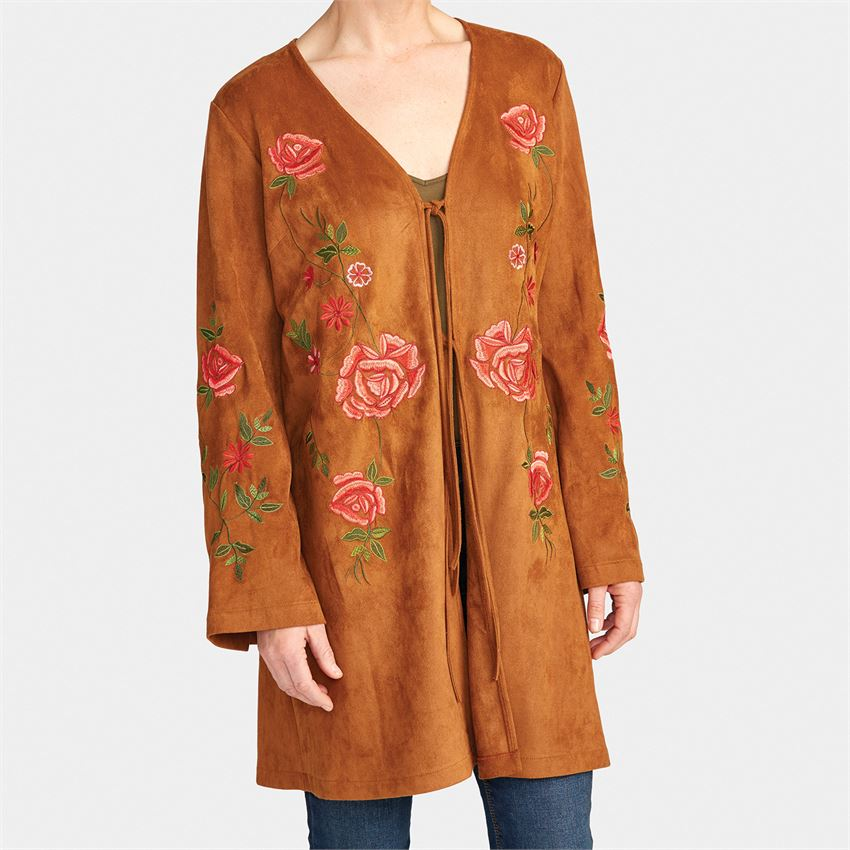 Serafina Embroidered Cognac Suede Jacket
