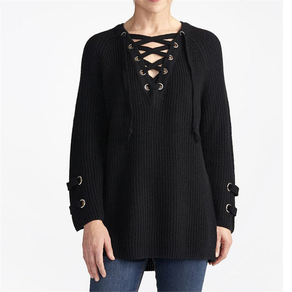 Lace Up V-Neck Sweater (more colors)
