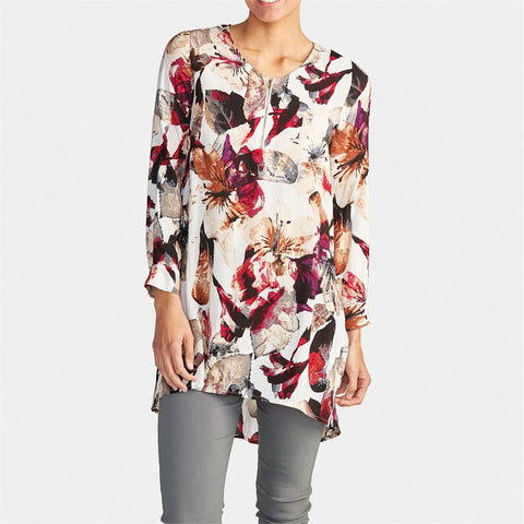 Autumn Floral Zipper V-Neck Tunic
