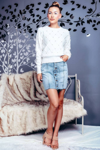 Crisscross Pearl Studded Pullover