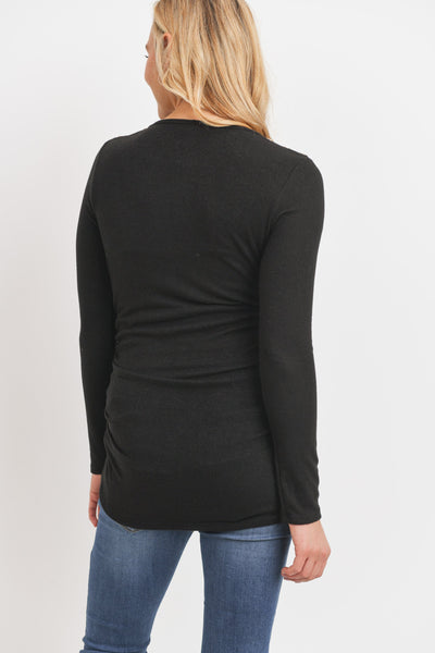 Brushed Rayon Hacci Shoulder Button Detail Top (more colors)