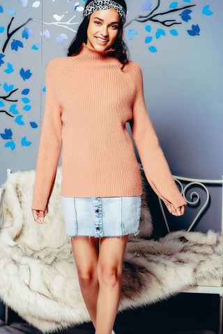 High Neck Ribbed Sweater with Buttoned Bell Sleeves