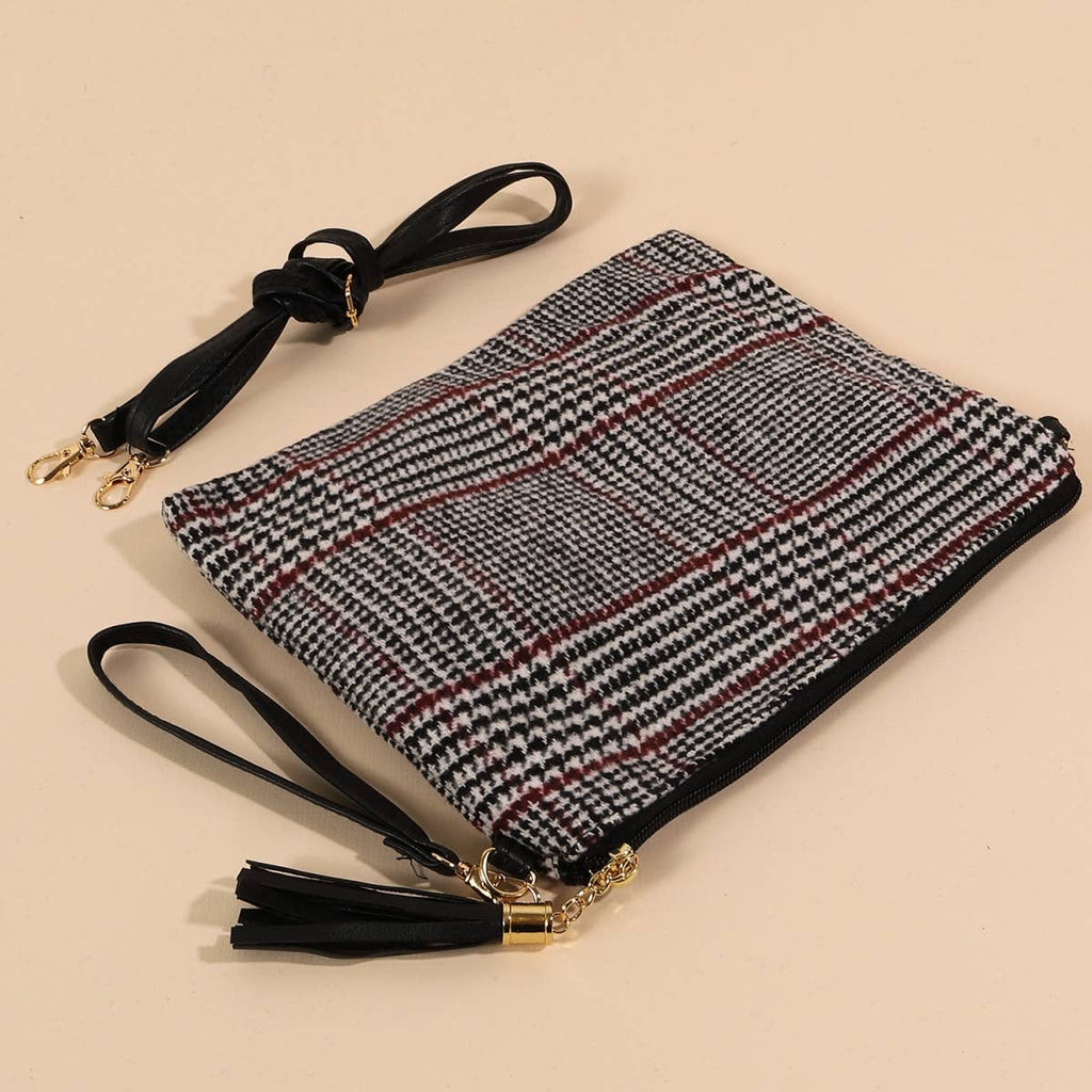 Glen Check Crossbody Clutch Bag