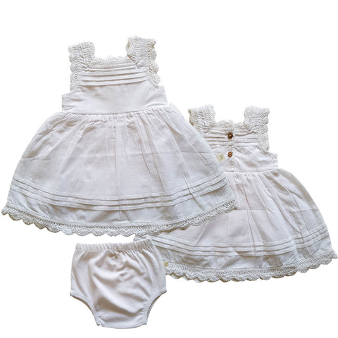 Tiny Twig - Precious White - Lily Blossom Dress with Bloomer