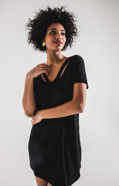 The Cutout V-Neck Black Dress by Z Supply