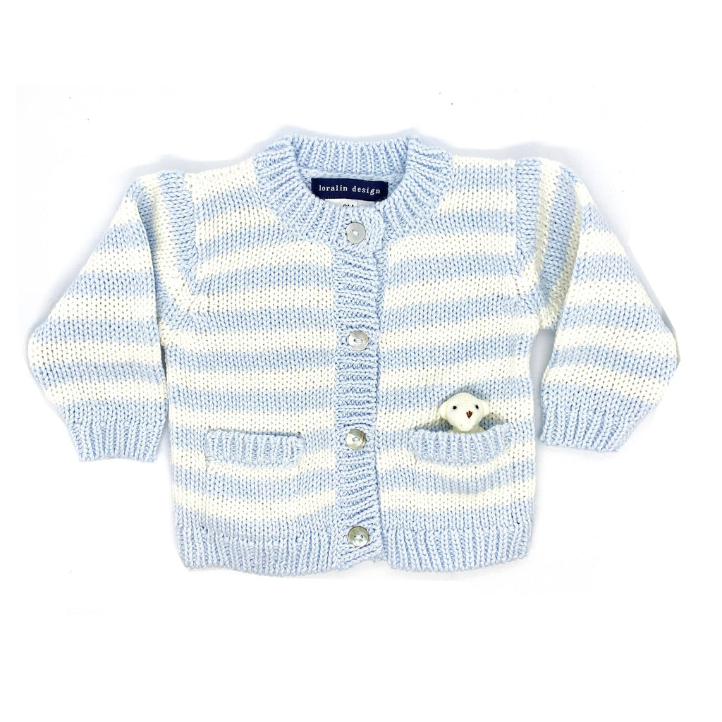 Bear Cardigan Sweater - Sky Blue and White Striped
