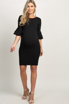 Black Fitted Ruffle Sleeve Maternity Dress