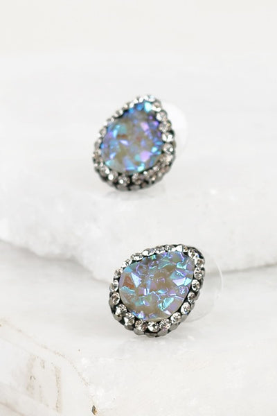 Teardrop Druzy Halo Earring