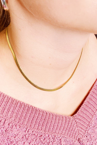 Classic Herringbone Chain Necklace